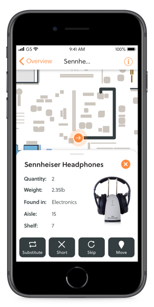 shopping app on a cell phone showing a pair of headphones and a map