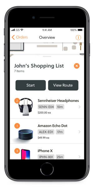 cell phone with app showing shopping list