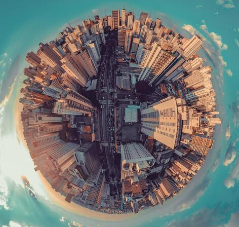 fish-eye-city-view